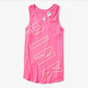 VS PINK Tank Top Slit Back Large Shirt Pink S